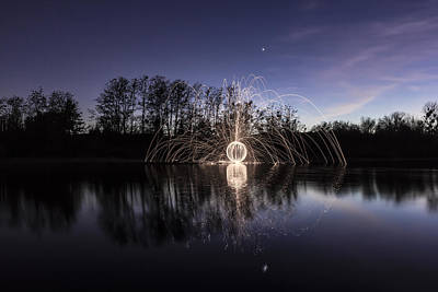 Light Trail Photograph - Purple Orb Reflection by Lee Harland