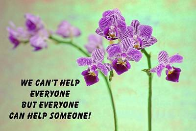 Positive Attitude Photograph - Purple Orchid Quote-1 by Rudy Umans