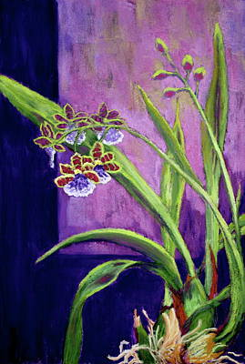 Art Print featuring the painting Purple Orchids by Nancy Jolley