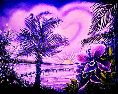 Art Print featuring the painting Purple Palm by Yolanda Rodriguez