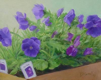 Purple Pansies Colorful Original Oil Painting Flower Garden Art  Art Print