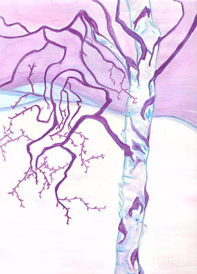 Painting - Purple Paper Birch by Heather  Hiland