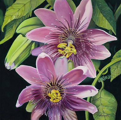Passion Flower Vine Painting - Purple Passion by Vaunda Hawkins