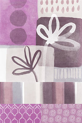 White Orchid Mixed Media - Purple Patchwork- Contemporary Art by Linda Woods