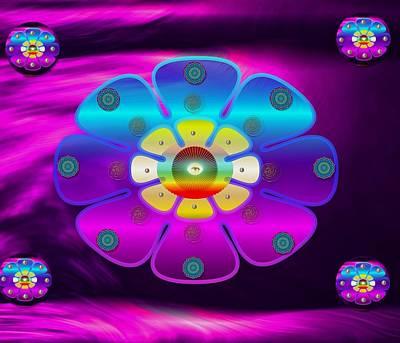 Temple Mixed Media - Purple Peace Floral Temple Landscape by Pepita Selles