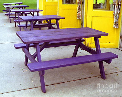Photograph - Purple Picnic Tables Yellow Doors by Tom Brickhouse
