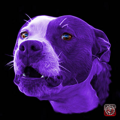 Mixed Media - Purple Pitbull Dog 7769 - Bb - Fractal Dog Art by James Ahn