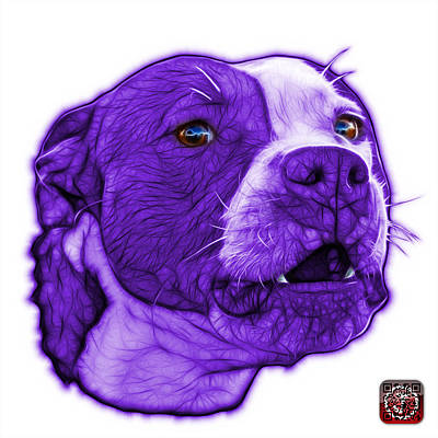 Mixed Media - Purple Pitbull Dog Art - 7769 - Wb - Fractal Dog Art by James Ahn