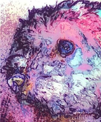 Purple Pooch Art Print by Lady Ex