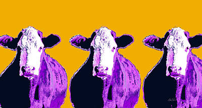 Digital Art - Purple Pop Art Cows by Ann Powell