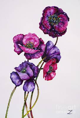 Painting - Purple Poppies by Zaira Dzhaubaeva