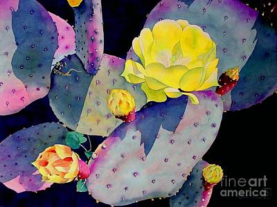 Desert Flower Painting - Purple Prickly Pear by Robert Hooper