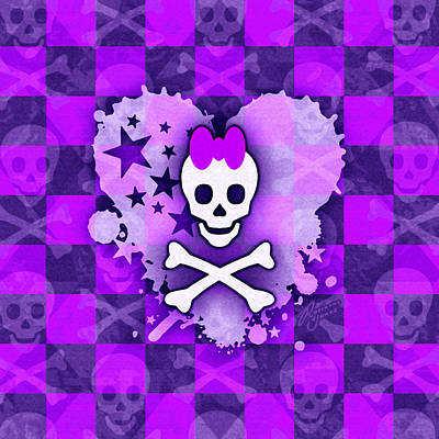 Digital Art - Purple Princess Skull Heart by Roseanne Jones