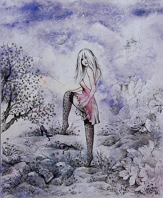 Enchantment Painting - Purple Pumps And A Fairy Tale by Rachel Christine Nowicki