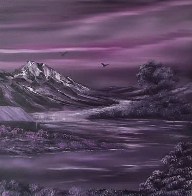 Bob Ross Painting - Purple Rain 2 by Cynthia Adams