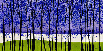 Painting - Purple Rain Landscape With Trees 4 by Jerome Lawrence