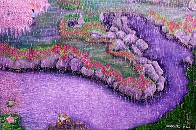 Cherry Blossoms Painting - Purple Rain by Sunny  Kim