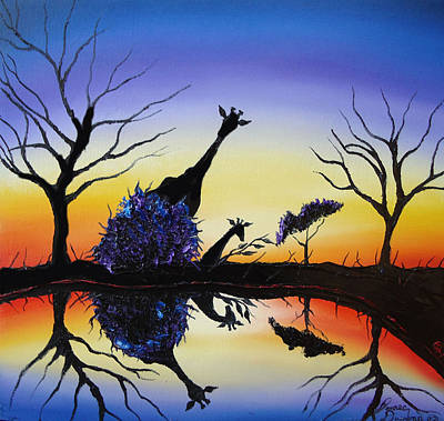 Purple Reflection Of Serengeti Art Print by Portland Art Creations