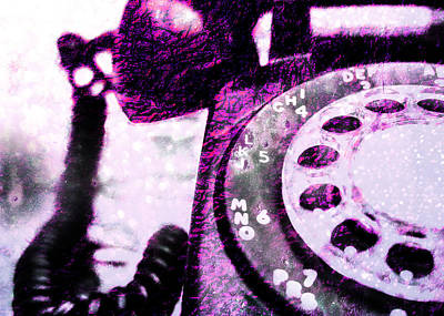 Telephone Photograph - Purple Rotary Phone by Jon Woodhams
