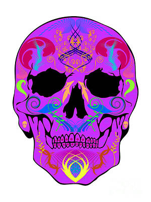 Purple Skull Art Print by Mauro Celotti