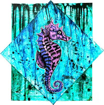 Colored Pencil Painting - Purple Seahorse by Genevieve Esson