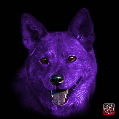Mixed Media - Purple Shiba Inu Dog Art - 8555 - Bb by James Ahn