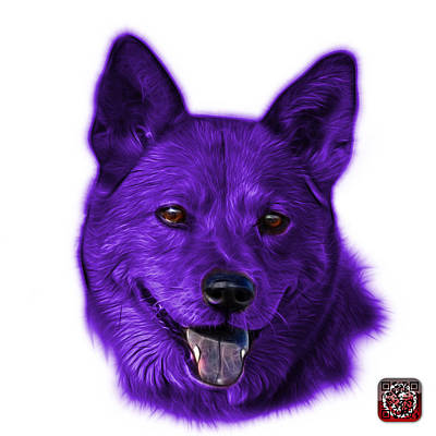 Mixed Media - Purple Shiba Inu Dog Art - 8555 - Wb by James Ahn