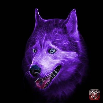 Painting - Purple Siberian Husky Dog Art - 6062 - Bb by James Ahn