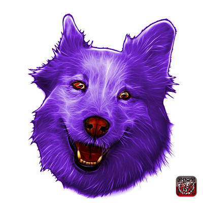 Painting - Purple Siberian Husky Mix Dog Pop Art - 5060 Wb by James Ahn