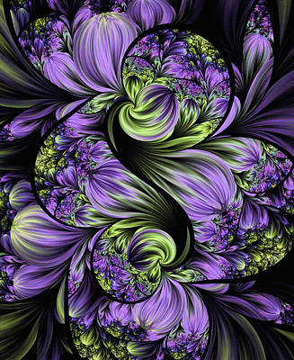 Digital Art - Purple Silk Flowers by Lea Wiggins
