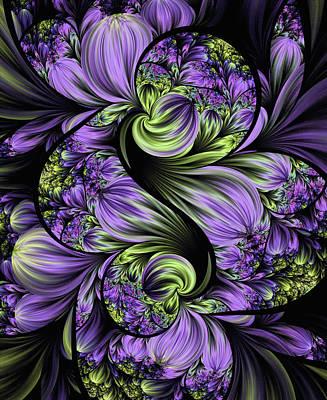 Purple Silk Flowers Art Print