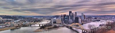 Photograph - Purple Skies Over Pittsburgh - Panorama by Adam Jewell