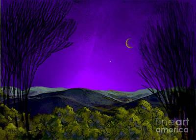 Venus Digital Art - Purple Sky by Carol Jacobs