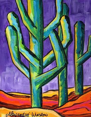 Saguaro Painting - Purple Sky II by Alexandria Winslow