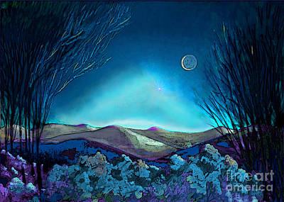 Figurative Digital Art - Purple Sky In Blue by Carol Jacobs
