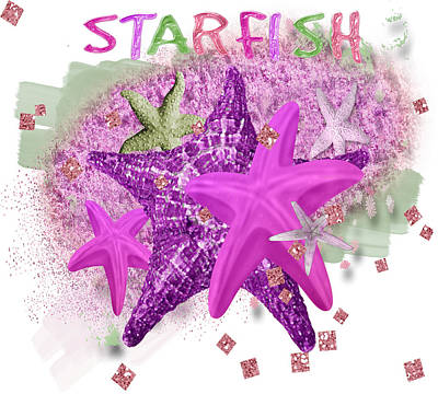 Purple Sea Stars Wall Art - Digital Art - Purple Starfish by Debra  Miller