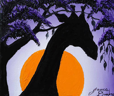 Purple Sun Giraffe Art Print by Portland Art Creations