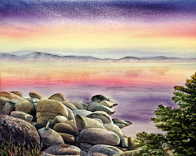 Painting - Purple Sunset At The Lake by Irina Sztukowski