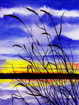 Maine Landscapes Painting - Purple Sunset by Brenda Owen