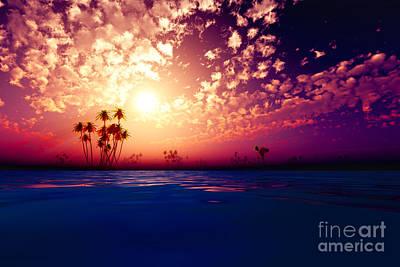 Coconuts Digital Art - Purple Sunset In Clouds by Aleksey Tugolukov
