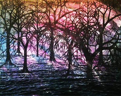 Creepy Mixed Media - Purple Swamp by Kristin Nichi