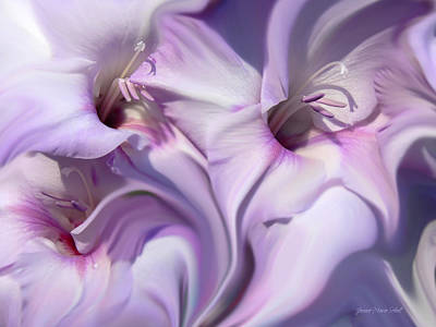 Purple Swirl Abstract Gladiolas  Art Print by Jennie Marie Schell