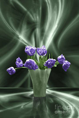 Digital Art - Purple Tulips In Floating Room by Johnny Hildingsson