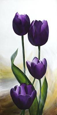 Purple Tulips Art Print by Teresa Wadman