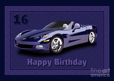 Digital Art - Purple Vette 16th Birthday by JH Designs