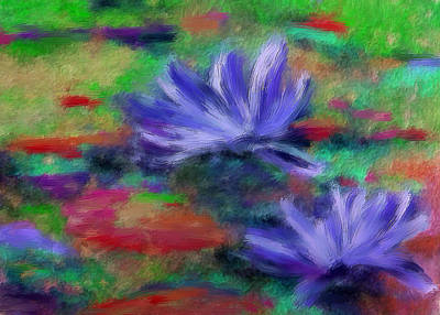 Lilly Pond Mixed Media - Purple Water Lillies by Renee Skiba