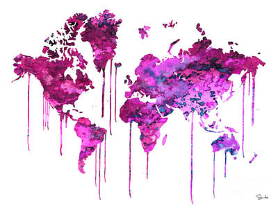 World Map Painting - Purple Watercolor Map by Luke and Slavi