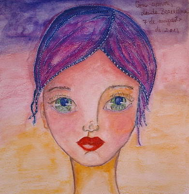 Whimsy Face Mixed Media - Purple Whimsical by Cristina Parus