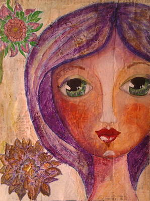 Whimsy Face Mixed Media - Purple Whimsy Girl by Cristina Parus