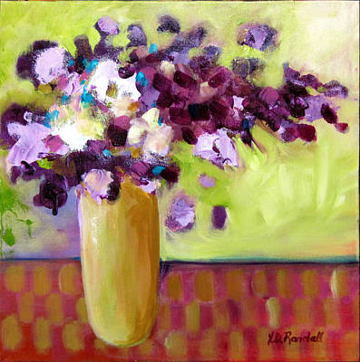 Table Cloth Painting - Purple White Flowers In Vase by Donna Randall